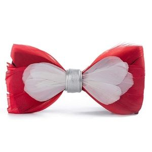 Mens Natural Feather Pre Tied Leather Bowtie Red